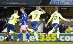 Sam Winnall celebrates his second goal at Portman Road as Derby climbed into the Championship's top two.