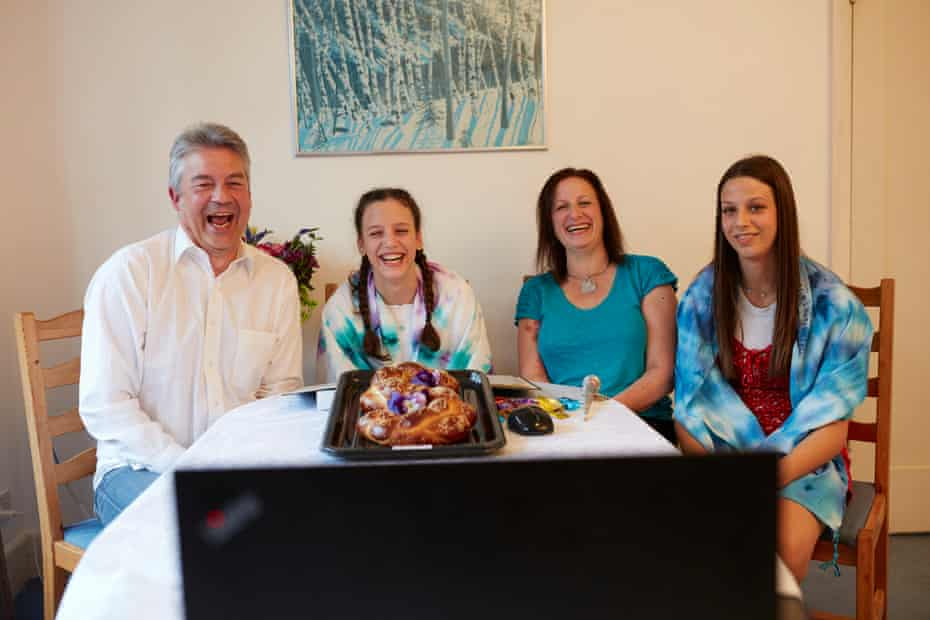 30 April: Sophie Matkovits (second left) celebrates her batmitzvah with friends and family around the world via Zoom from her home in Finchley