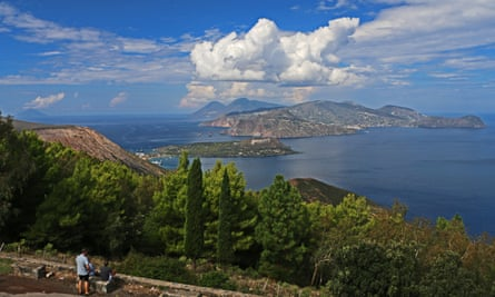 The volcanic Aeolian islands, pictured here with the view from Vulcano across towards Lipari.