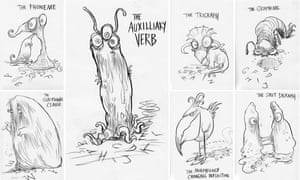 A selection of the Sats beasties drawn by Chris Riddell.