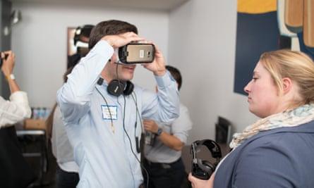 Testing out VR headsets at Internapalooza.