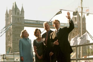 Hillary Clinton, Cherie Blair, Bill Clinton and Tony Blair enjoy a day of sightseeing in London in 1997.