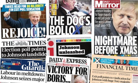 Front pages of the UK Papers on 13 December 2019 as exit polling indicates a likely Tory majority in the election held on 12 December.
