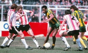 West Brom's Cyrille Regis playing against Southampton in 1979.