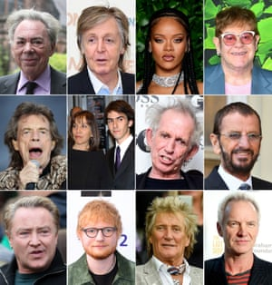 Top row (from left): Andrew Lloyd Webber, Paul McCartney, Rihanna and Elton John. Middle row: Mick Jagger, Olivia and Dhani Harrison, Keith Richards and Ringo Starr. Bottom row: Michael Flatley, Ed Sheeran, Rod Stewart and Sting.