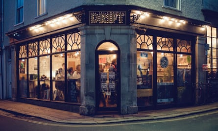 Exterior nighttime view of Drift Records, Totnes, Devon