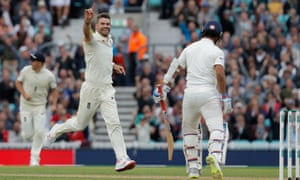 James Anderson celebrates the wicket of Ajinkya Rahane during the fifth Test against India at the Kia Oval.