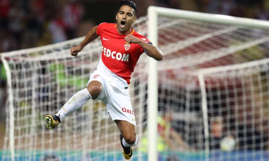 Monaco's Radamel Falcao celebrates after scoring a penalty during the 6-1 victory over Marseille.