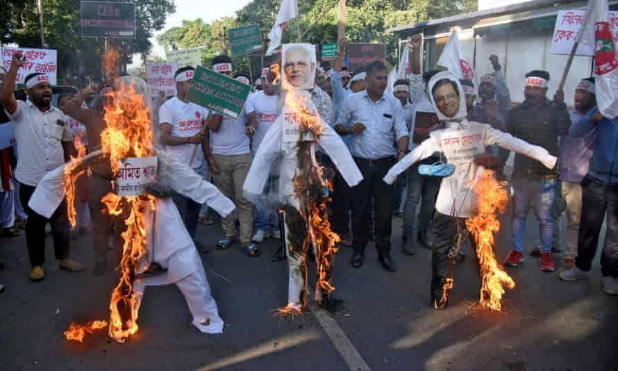 A December 2019 protest in Assam against a Modi government policy excluding Muslim refugees from citizenship.