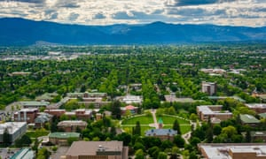 View of University of Montana from Mount Sentinel, in Missoula, Montana.<br>F10NP2 View of University of Montana from Mount Sentinel, in Missoula, Montana.