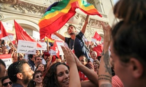 Protesters call for gender equality and LGBT rights on National Women's Day in Tunisia, August 2018