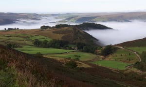 Surprise View, as it it is known, on a cold autumn morning on Higgar Tor in the Peak District.