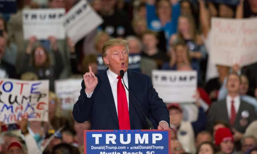 Donald Trump addresses supporters during a campaign rally at the Myrtle Beach Convention Centre.