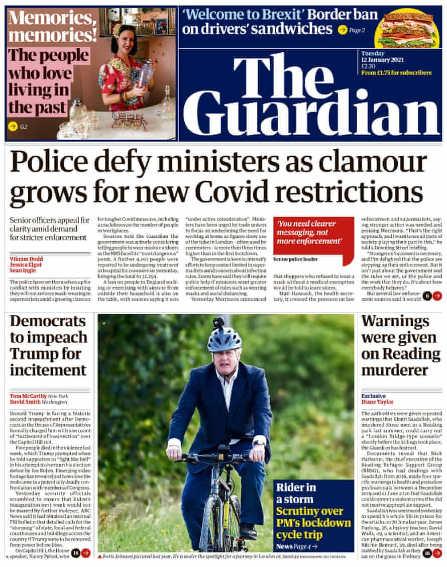 Guardian front page, Tuesday 12 January 2021