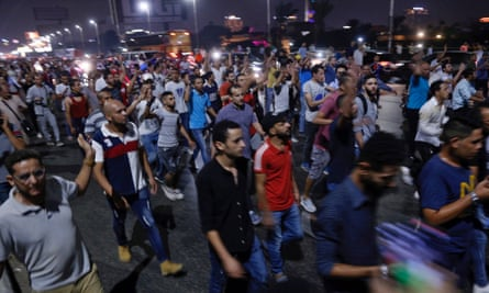 Protesters in Cairo on Saturday night where they called for the removal of president Sisi. Police fired teargas at crowds in Suez.