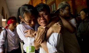 Protesters and family members are reunited in Tharrawaddy.