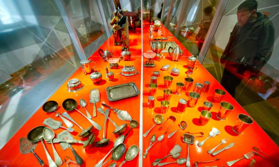 A display of cutlery from Jewish ownership in a Looted Art exhibition at Museum for Arts and Crafts, Hamburg