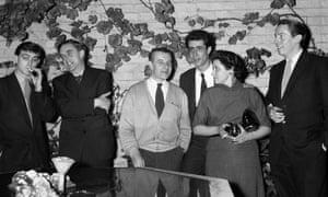 Bill Hopkins, John Wain, Lindsay Anderson, Tom Maschler, Doris Lessing and Kenneth Tynan at a party