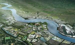 CGI generation of Ebbsfleet garden city.