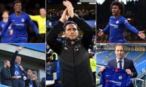 Clockwise from top left: Callum Hudson-Odoi, Frank Lampard, Willian, Petr Cech and Roman Abramovich.