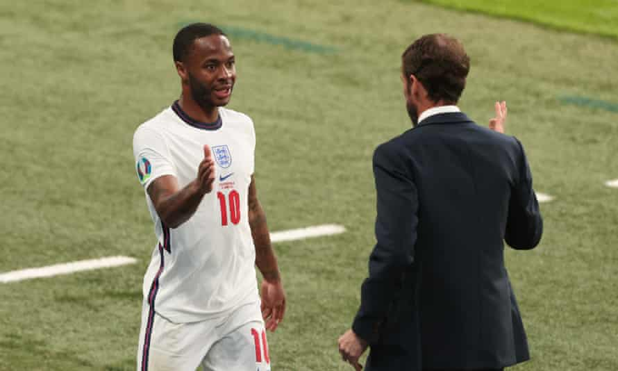 Raheem Sterling with Gareth Southgate during the group win against the Czech Republic
