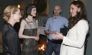 Joanne Froggatt (Anna Bates) and Michelle Dockery (Lady Mary Crawley) chat to The Duchess of Cambridge on set.