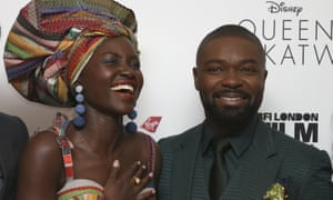Lupita Nyong'o and David Oyelowo at the premiere of Queen of Katwe in London.