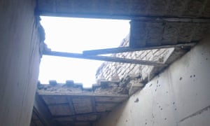 A ceiling damaged in the drone attack in 2009.