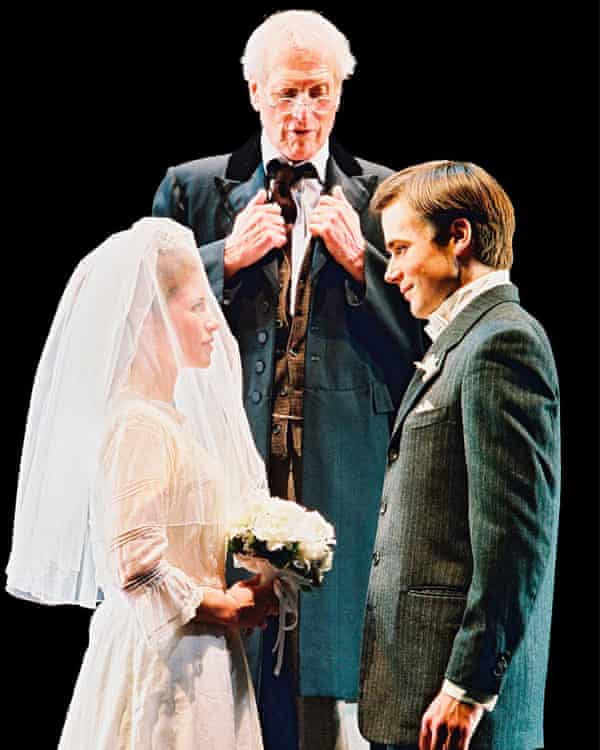 Paul Newman (the Stage Manager, centre) with Maggie Lacey and Ben Fox in the 2002 production of Our Town at the Booth theatre in New York.
