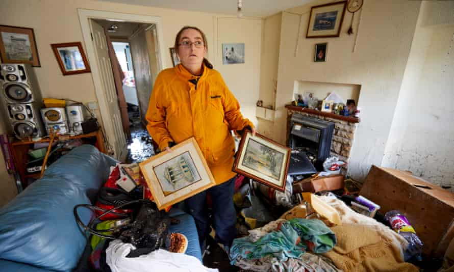Rebecca Till in her flooded property in Galgate