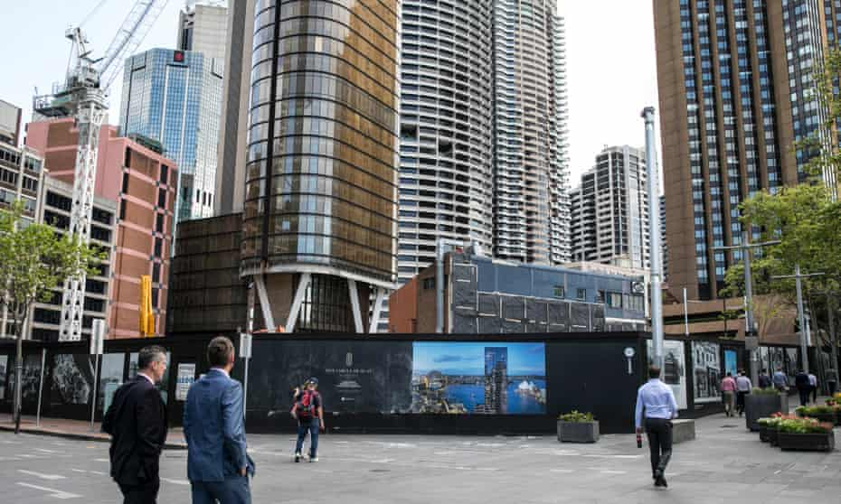 The hoardings at One Circular Quay in Sydney