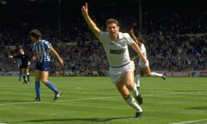 Clive Allen of Tottenham Hotspur celebrates after opening the scoring.