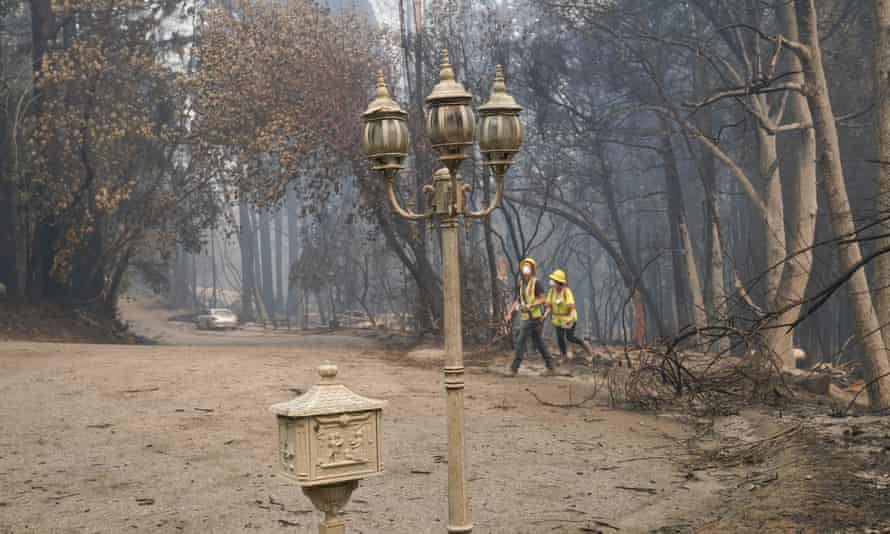 A fire-ravaged neighborhood is seen on Tuesday in Boulder Creek, California, after the the CZU Lightning Complex fire passed by.