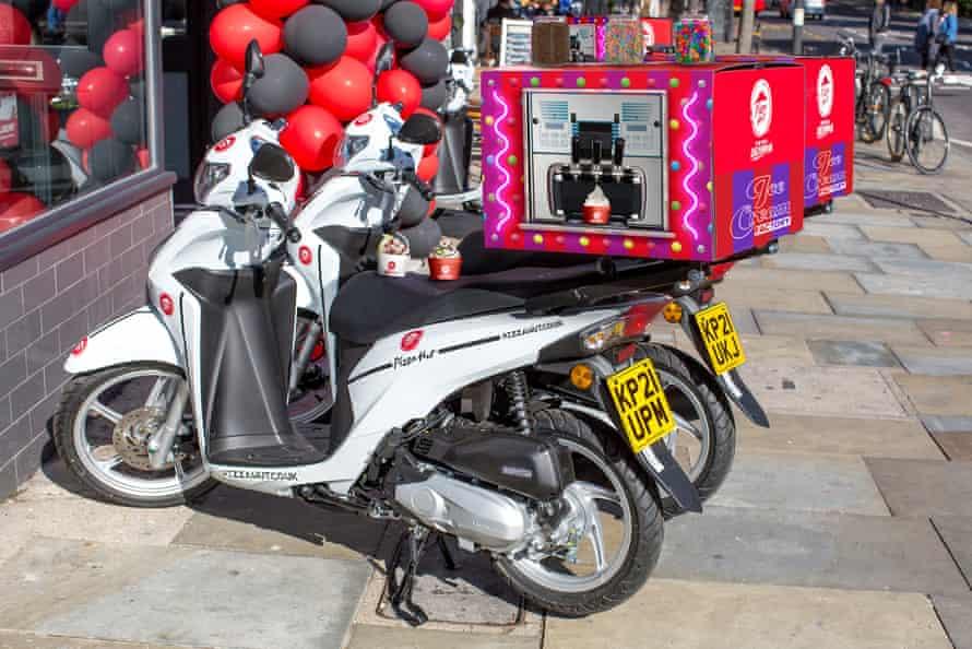 Pizza Hut's unique ice cream factory delivery bikes.