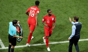 Gareth Southgate greets Raheem Sterling after sending on Marcus Rashford in the forward's place in England's opening World Cup game against Tunisia.