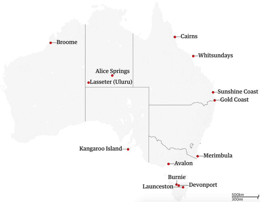 A map of Australia showing the destinations for half-price flights.