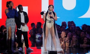Nicki Minaj accepts the award for best hip-hop.