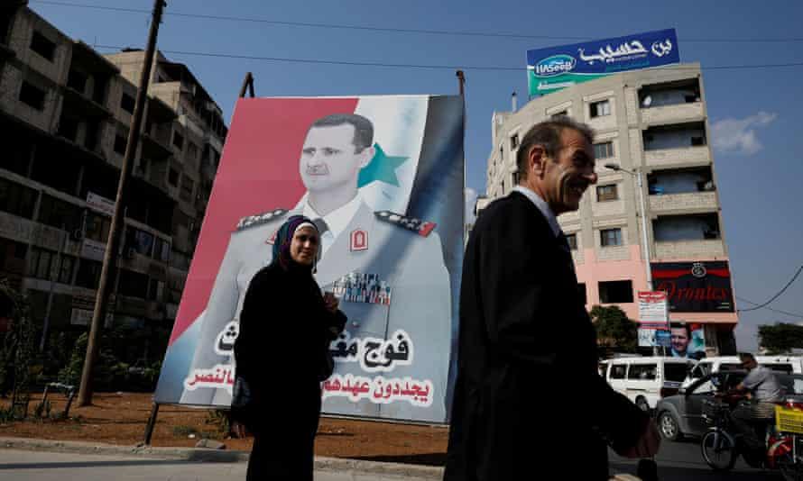 A billboard in Homs depicting President Bashar al-Assad