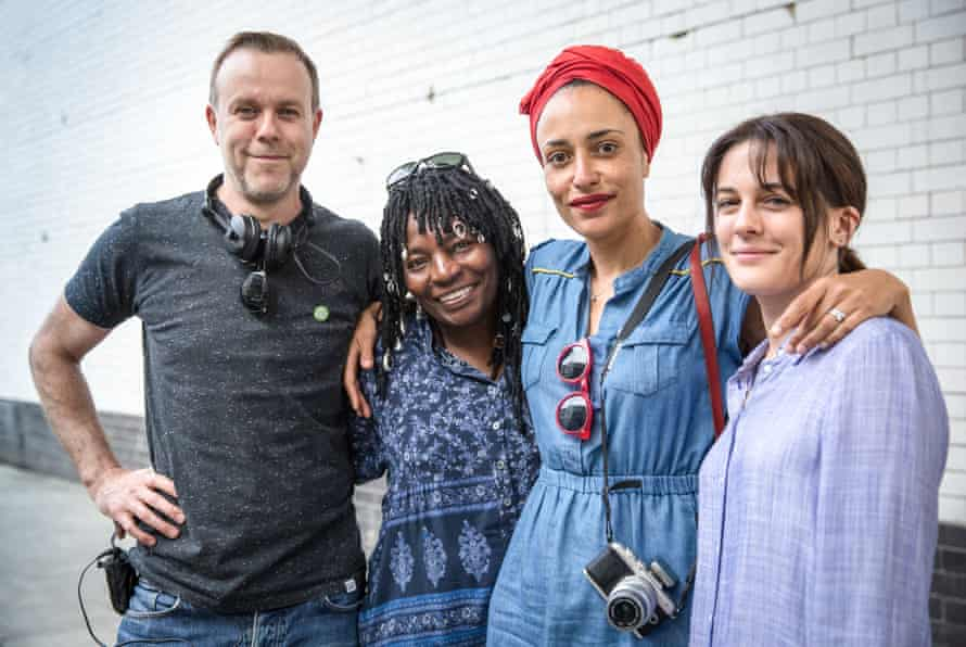 Zadie Smith with the cast and crew of NW.