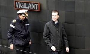 George Osborne on the Trident-carrying submarine HMS Vigilant at Faslane naval base.