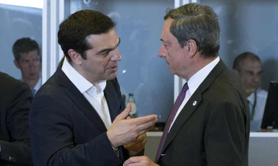 Alexis Tsipras talks with the European Central Bank's president, Mario Draghi, during a eurozone emergency summit in Brussels, earlier this month.