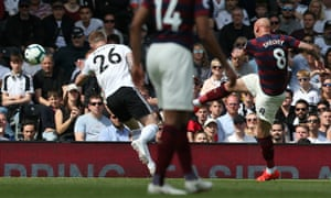 Jonjo Shelvey volleys Newcastle United into the lead against Fulham at Craven Cottage.