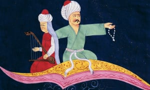 Aladdin appears on a magic carpet in this 19th-century Turkish illustration