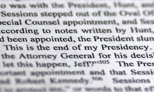 A page from the Mueller report quotes Donald Trump saying: 'This is the end of my presidency.'