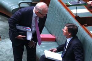 Prime minister Scott Morrison talks Angus Taylor during Angus Taylor hour.
