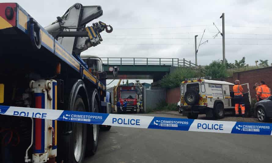 Emergency services at the scene of the collapse at a Hawkeswood Metal Recycling site in Birmingham