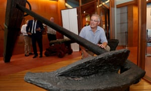 Australian prime minister Scott Morrison with the anchor from James Cook's ship Endeavour during a visit to the Cooktown Museum.