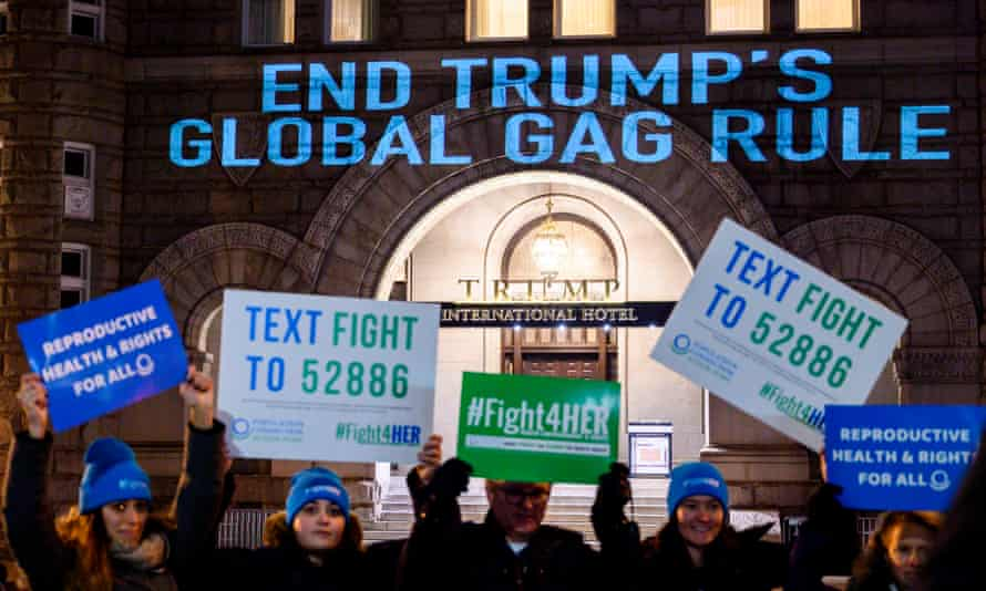 Population Connection Action Fund protest outside Trump International hotel in Washington