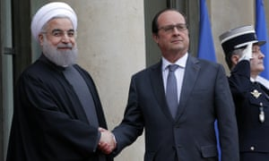 François Hollande and Hassan Rouhani before a meeting at the Élysée palace in Paris