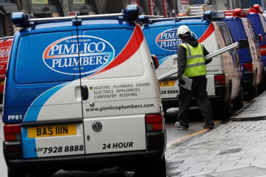 Pimlico Plumbers vans in London.